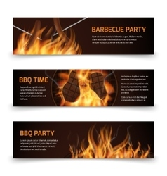 Bbq grill party horizontal banners set with vector image