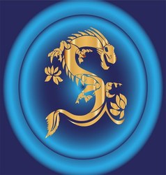Blue Background and Yellow Chinese Dragon vector image