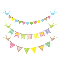 bunting hearts swallows vector image vector image