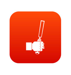 chisel tool in man hend icon digital red vector image