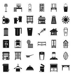 Cleaning home icons set simple style vector