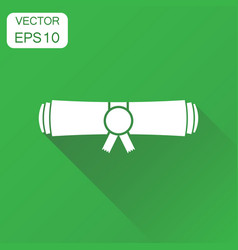 Diploma rolled scroll icon business concept vector