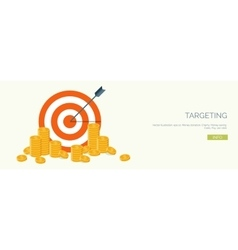 ector Flat header Target and coins vector image vector image
