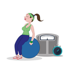 fitness woman fitball weight scale and stopwatch vector image