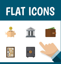 Flat icon finance set of money box strongbox vector