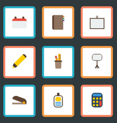 Flat icons calculate identification highlighter vector