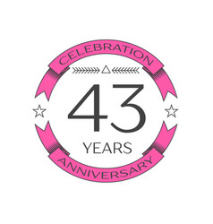 Forty three years anniversary celebration logo vector