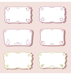 Frames set with love and nature objects vector image vector image