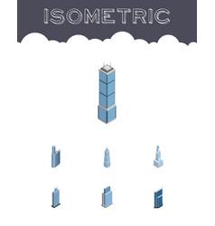 Isometric building set of exterior apartment vector