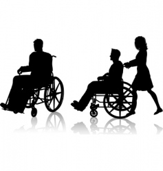 Man and woman with wheelchair vector