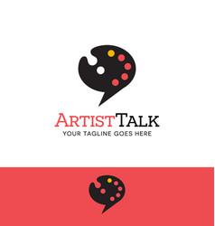 Paint palette talk bubble logo vector