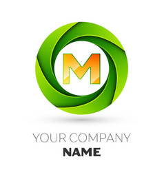 Realistic letter m logo in the colorful circle vector