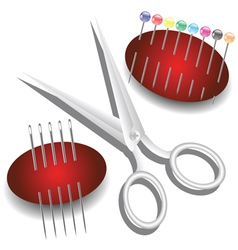 scissors needles and pins vector image