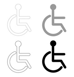 Sign of the disabled the black and grey color set vector