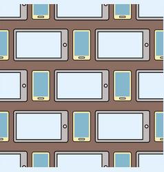 Tablet phone flat seamless pattern business design vector