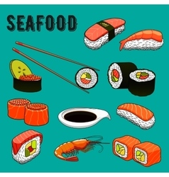 Traditional japanese seafood sushi icon vector