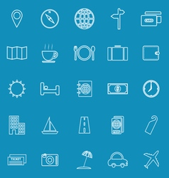 Travel line icons on blue background vector image