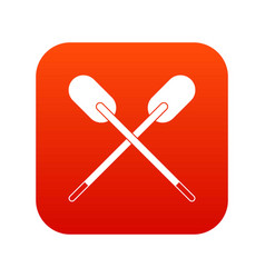 Two wooden crossed oars icon digital red vector