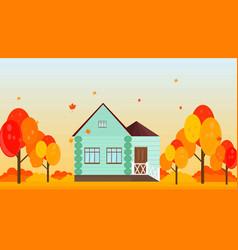 village house in autumn season background vector image vector image