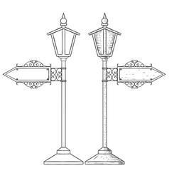 vintage lamp post hand drawn sketch vector image