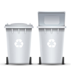 White recycling bin bucket for trash vector