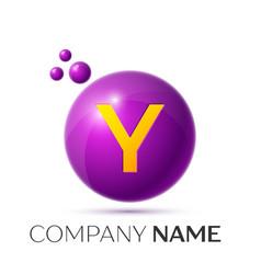 Y letter splash purple dots and circle bubble vector