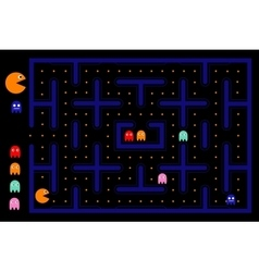 Pacman game with ghosts maze and user interface vector
