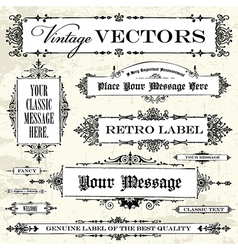 Set of vintage frames and backgrounds vector image