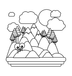 Isolated forest and mountain design vector