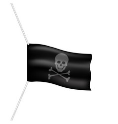 Pirate flag with skull symbol on white rope vector