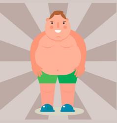 Fat man flat overweight body vector