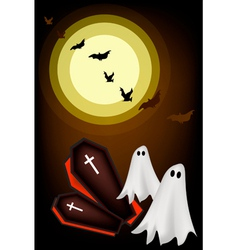 Happy halloween ghosts and coffin on night backgro vector