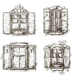 Vintage window hand drawn set of drawings vector