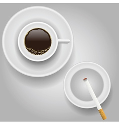 Cup of coffee and cigarette vector