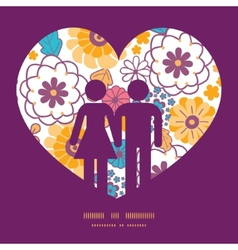 Colorful oriental flowers couple in love vector