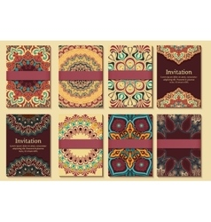 Set of invitations cards with ethnic henna vector
