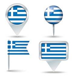 Map pins with flag of greece vector