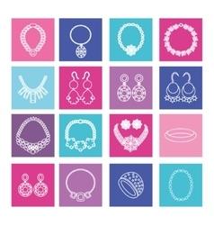 Set of jewelry women accessories vector