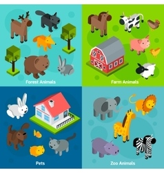 Isometric animals set vector