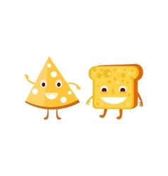 Humanized bread and cheese vector