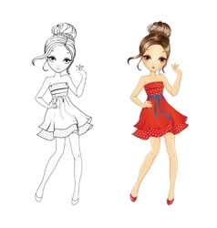 Coloring book of retro girl vector