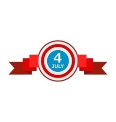 4th of july independence day badge with a ribbon vector