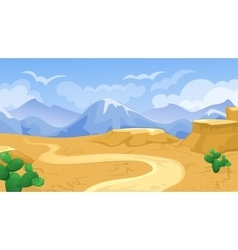 Desert With Road And Cactuses vector image