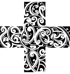 Maori styly tattoo cross shape vector