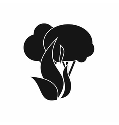 Burning forest trees icon simple style vector