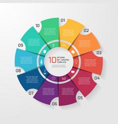 Circle infographic 10 options vector