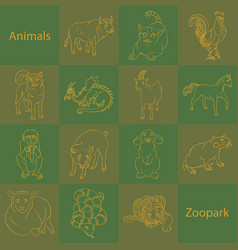Animals in zoopark vector
