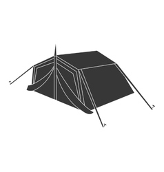 Black camping tent graphic vector