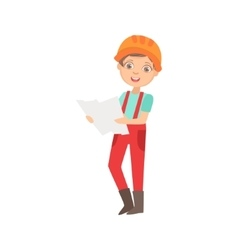 Boy studying a construction plan kid dressed as vector