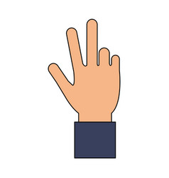 Color image cartoon hand with three fingers up vector